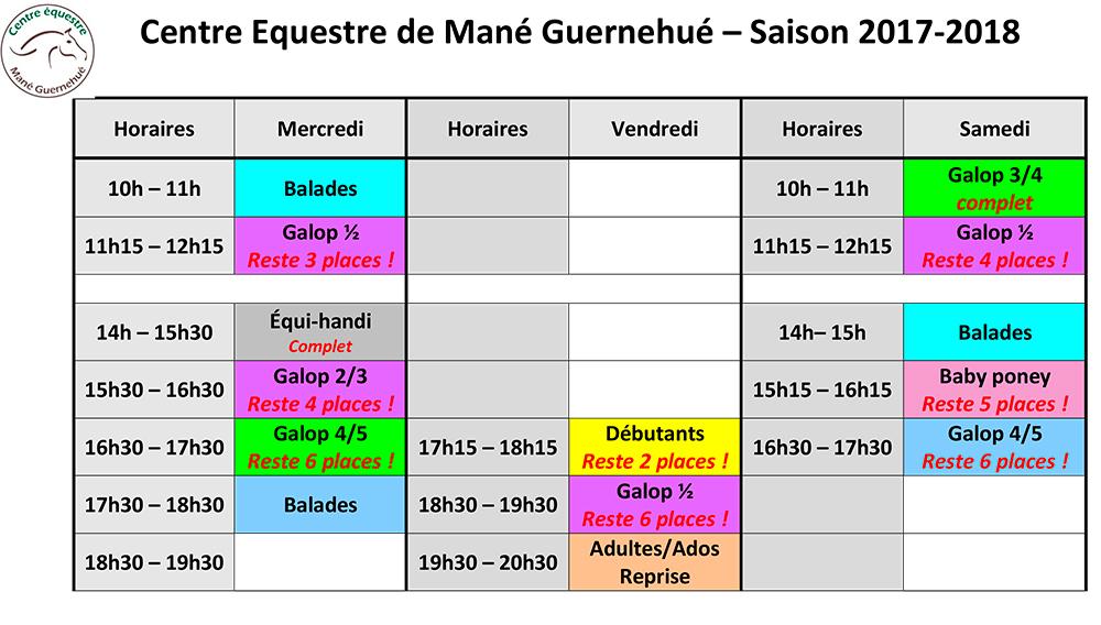 Planning des cours d'équitation à l'année au centre équestre de Baden
