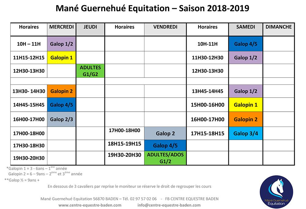 Planning des cours d'équitation au Centre équestre de Baden Morbihan