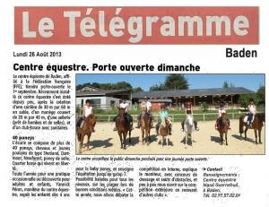 Article paru dans le Télégramme Centre Equestre de Baden