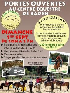 Portes Ouvertes au Centre Equestre de Baden dimanche 1er septembre